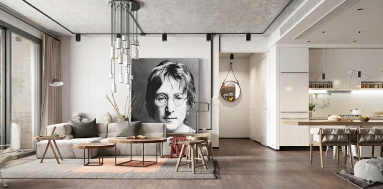 Cucina soggiorno open space, decorazione parete con poster di John Lennon