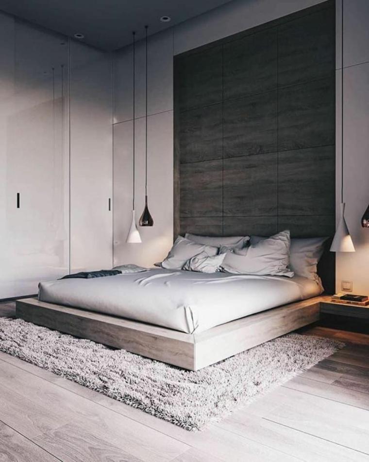 Letto basso in legno, lampade in sospensione, dipingere camera da letto due colori