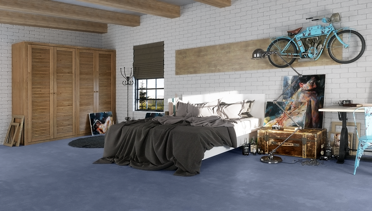 Parete effetto mattoni bianchi, moto appesa alla parete, pavimento blu, armadio in legno, colori camera da letto