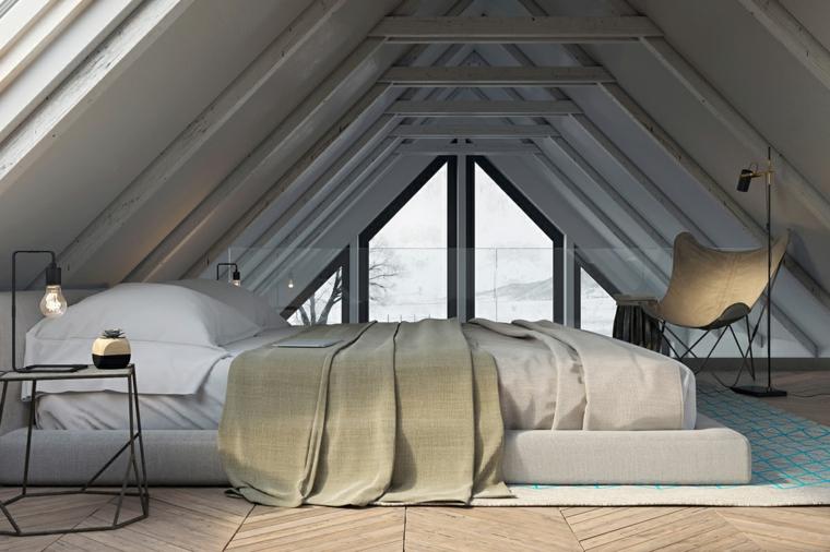 Pavimento in legno parquet, mansarda con soffitto in sospensione, dipingere camera da letto due colori