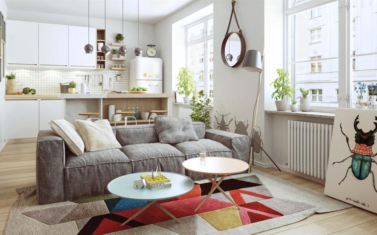 Cucina soggiorno open space, arredamento soggiorno con divano di colore grigio