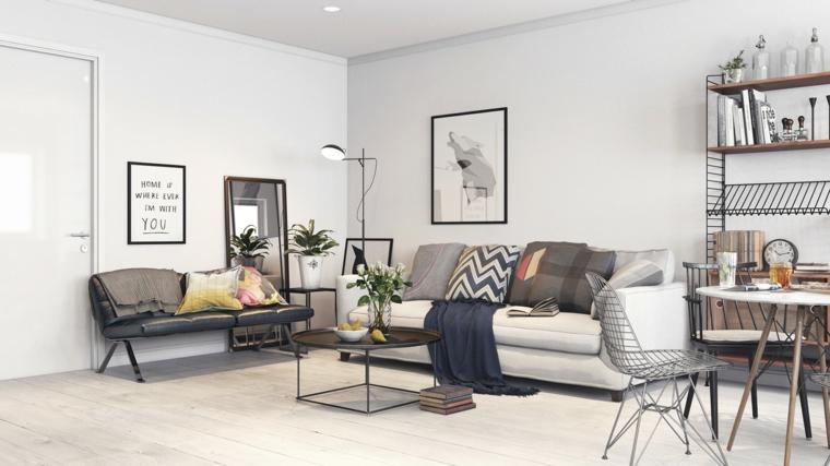 Sala da pranzo soggiorno insieme, divano in tessuto colore grigio e cuscini