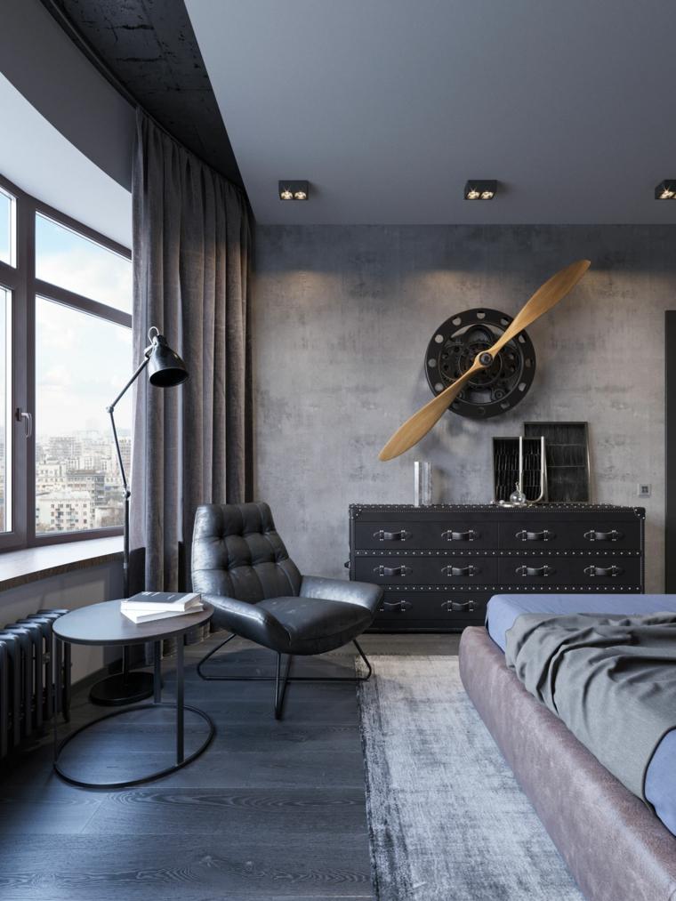 Parete di colore grigio, faretti sul soffitto, pavimento legno parquet, camere matrimoniali moderne