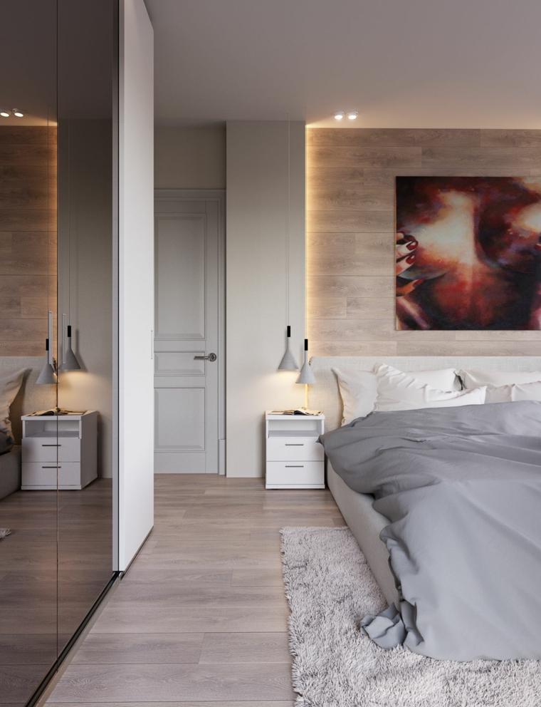 Illuminazione nascosta nella parete, parete in legno, tappeto bianco peloso, colori rilassanti per camere da letto