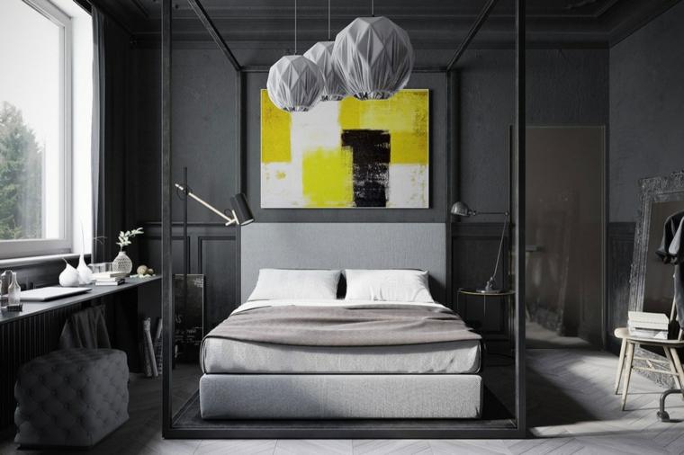 parete-zona-notte-colore-grigio-lampadari-design