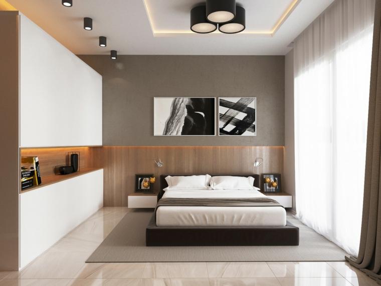 parete-zona-notte-colore-grigio-lampadario-design
