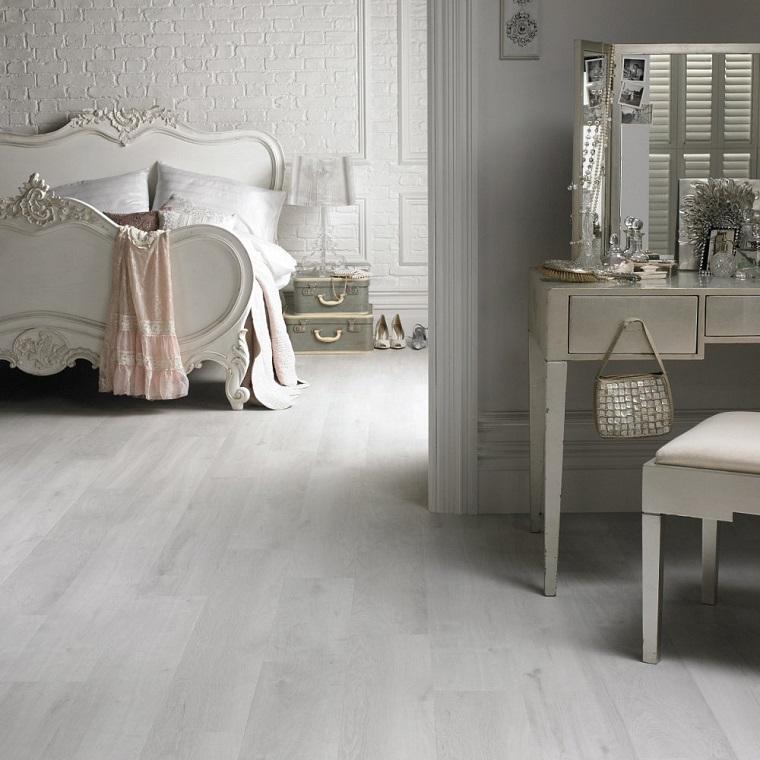 parquet bianco-arredamento-vintage-camera-letto