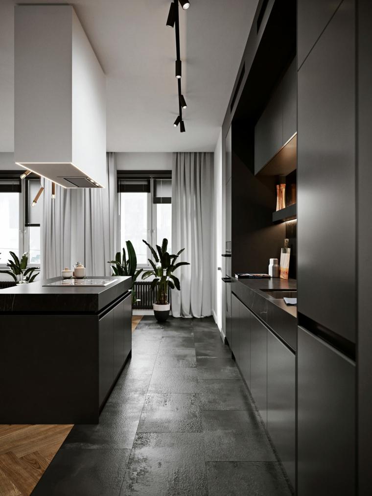 Idee arredamento cucina, mobili di colore nero, cucina con isola centrale