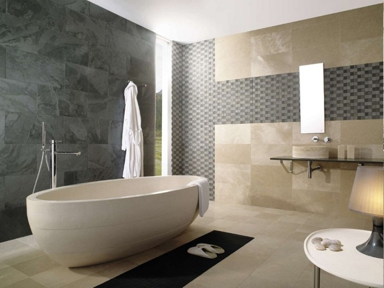 Rivestimento bagno moderno dalle piastrelle ai pannelli - Piastrelle grigie bagno ...