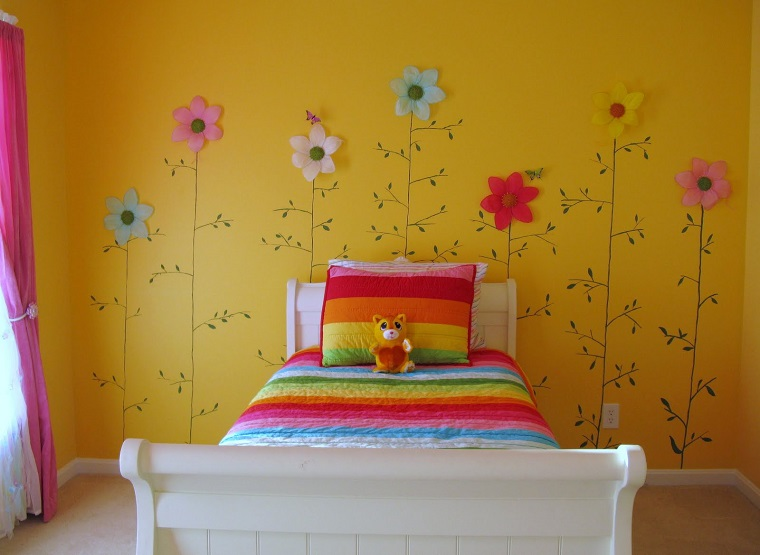 pittura-cameretta-giallo-scuro-fiori