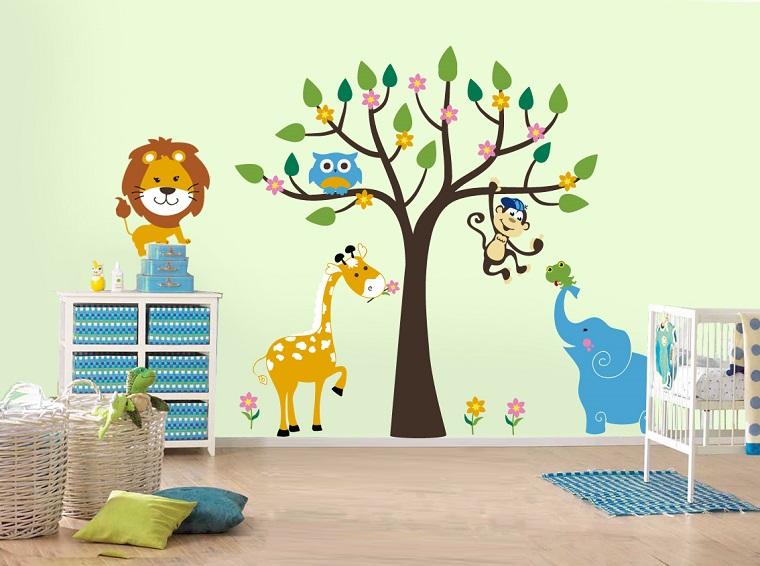 pittura-camerette-albero-animali-giungla