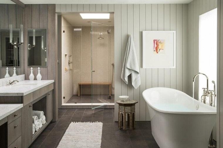 rivestimento bagno moderno-liste-legno-bianco