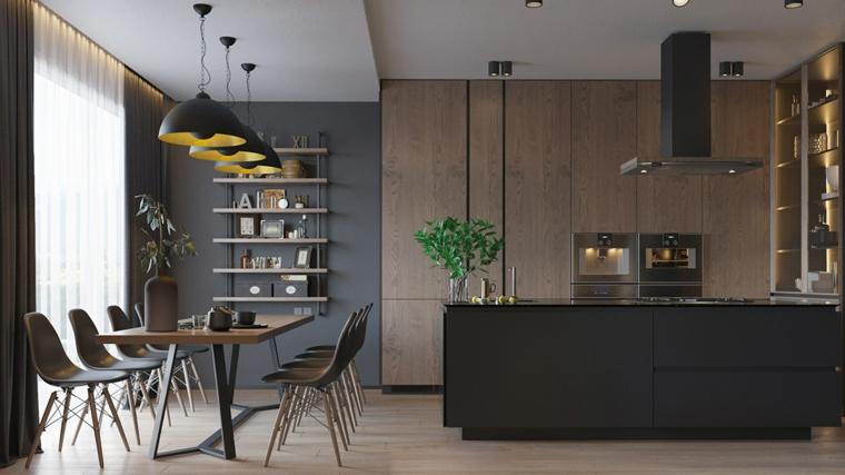 Idee arredamento cucina, isola centrale con top in marmo nero, open space sala da pranzo e cucina