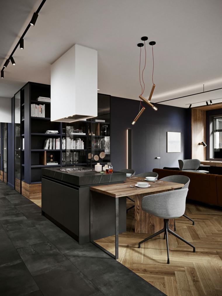 Idee arredamento cucina, sala da pranzo e cucina insieme, parete con mobile integrato