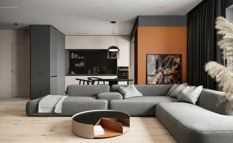 Soggiorni moderni, divano di colore grigio, tavolino basso da caffè