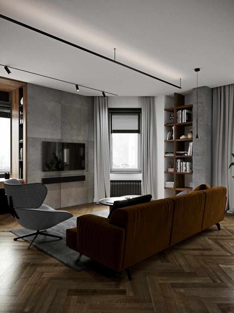 Soggiorni moderni, salotto con divano in tessuto, salotto con parete rivestita in piastrelle grigie