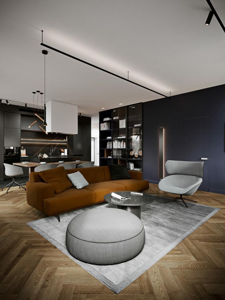 Soggiorni moderni, salotto con divano marrone, open space cucina e soggiorno