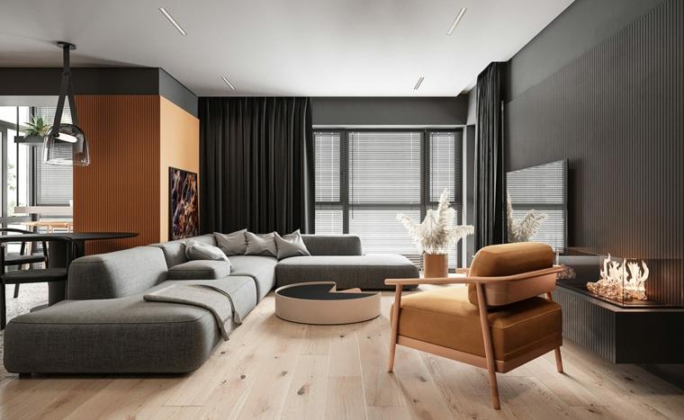 Soggiorni moderni, divano angolare di colore grigio, tavolino basso da caffè