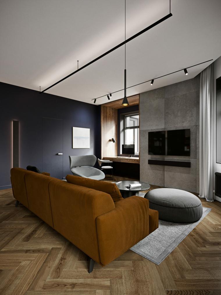 Soggiorni moderni, salotto con divano in tessuto, illuminazione con faretti sul soffitto