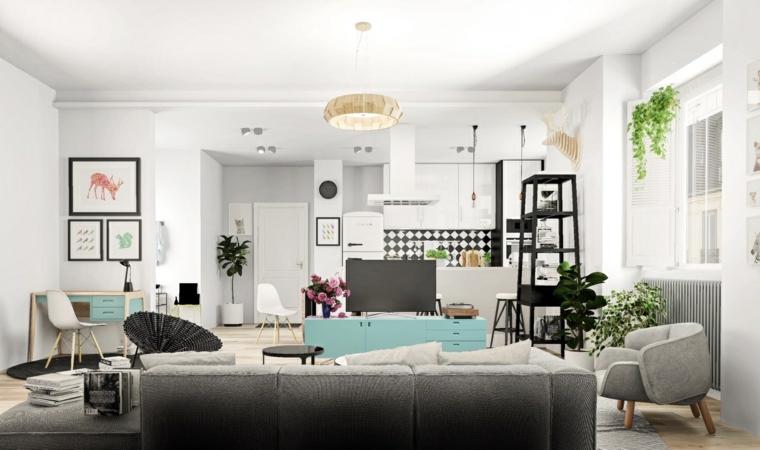 Cucina soggiorno open space, divano di colore grigio con angolo