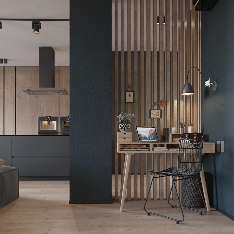 Come arredare la casa, soggiorno con scrivania, parete divisoria in legno