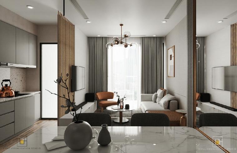 Salotto cucina open space, salotti moderni, tavolo con superficie in marmo