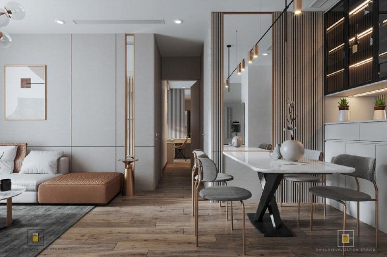 Salotti moderni, arredamento open space, sala da pranzo con tavolo in marmo