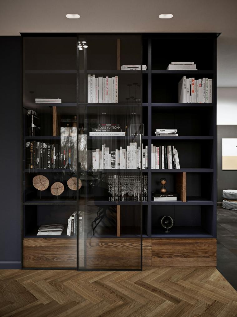 Salotti moderni, mobile con mensole e porta in vetro, soggiorno con mobili di legno
