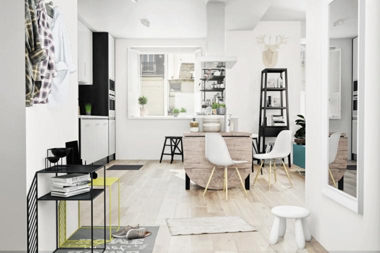 Open space cucina sala da pranzo, tavolo allungabile in legno, pavimento in legno chiaro