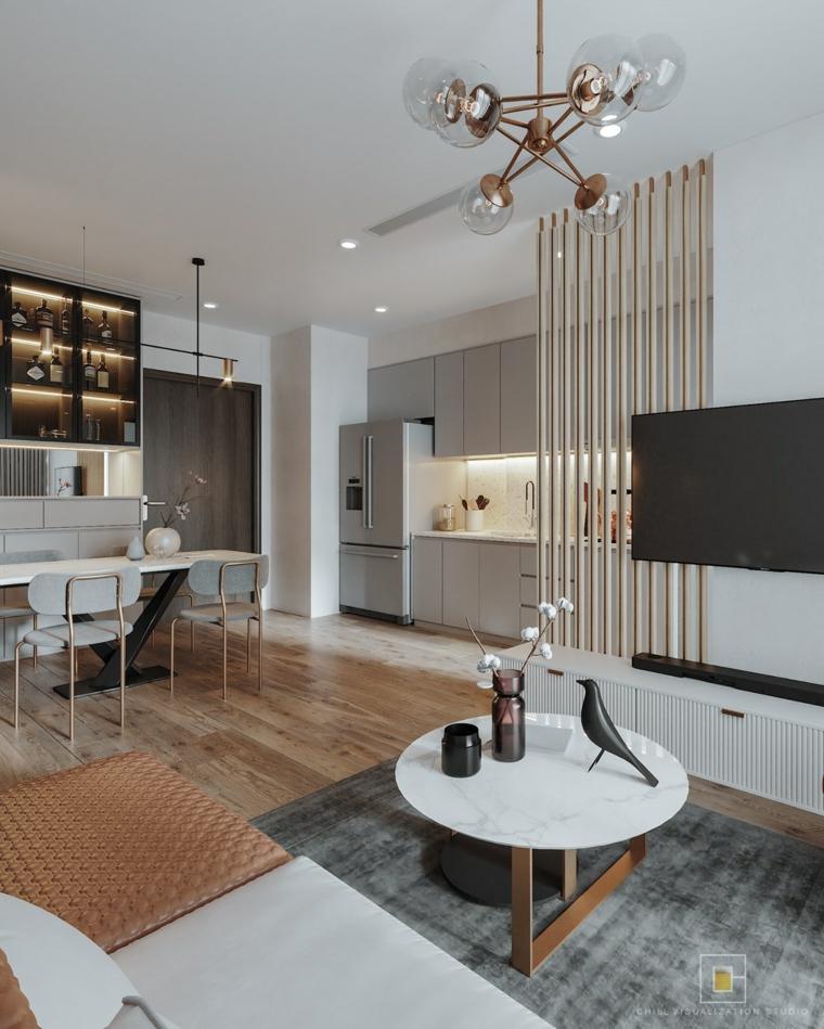 Idee arredamento cucina, open space zona living, parete divisoria in legno