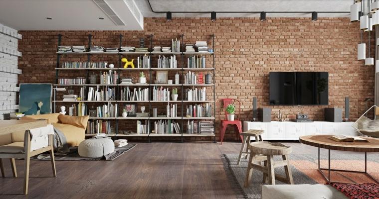 Salotto con mobili in legno, parete con mattoni a vista, tavolino da caffè in legno