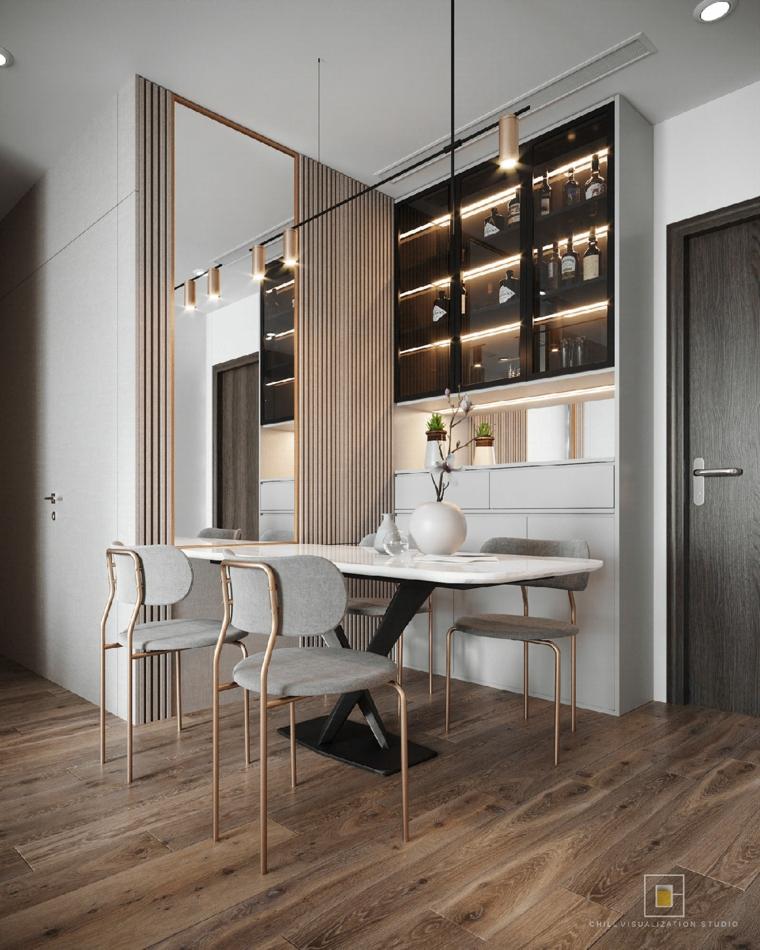 Come arredare la cucina, sala da pranzo con tavolo in marmo, pavimento in legno parquet