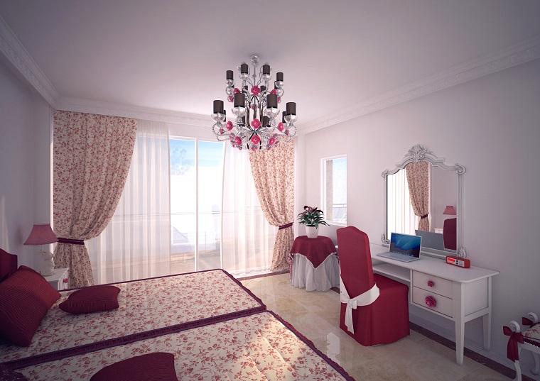 tende-camera-da-letto-fiorellini-rossi