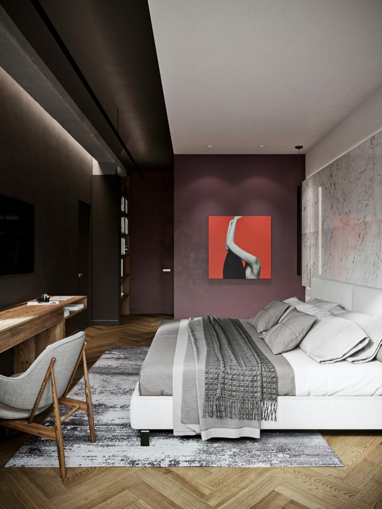 Come arredare la casa, zone notte con parete in marmo, camera letto con pavimento in legno
