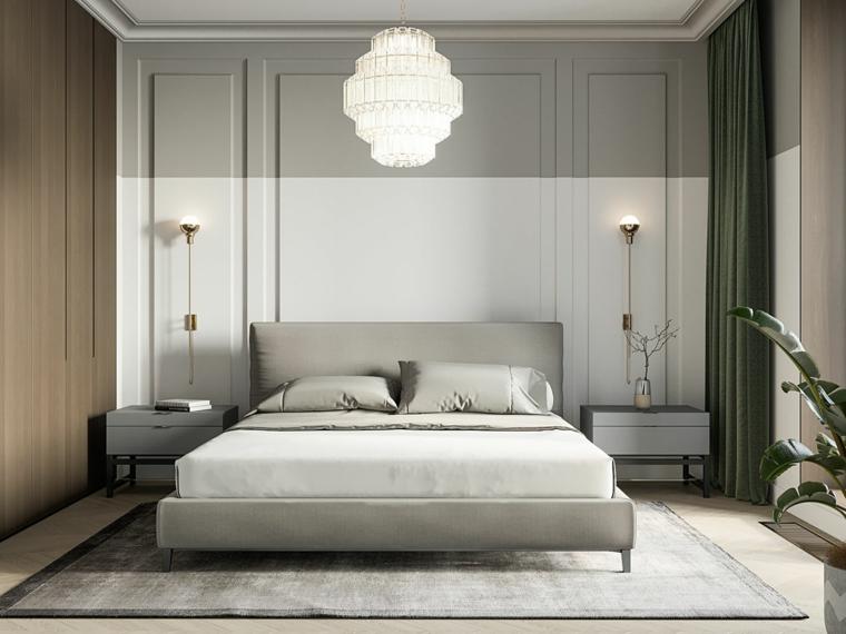 Armadio a muro, lampadario in cristallo, parete dietro letto in legno, tappeto colore grigio