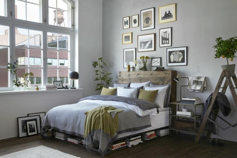 Testata letto in legno, letto in pallet, parete di colore grigio, dipingere camera da letto due colori