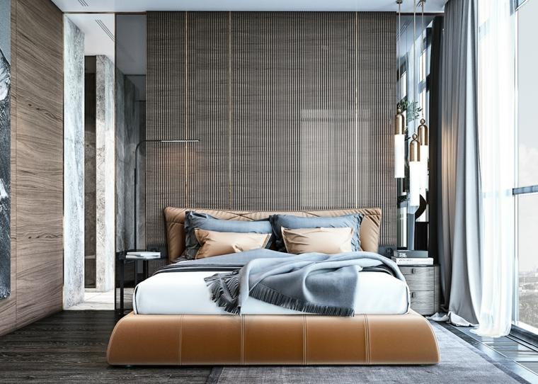 Testata letto in tessuto, armadio con specchio, pavimento legno parquet, come pitturare una stanza