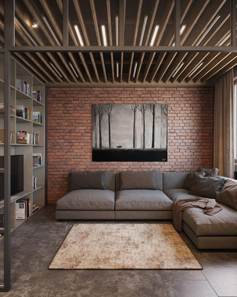 travi a vista-legno-soggiorno-arredamento-industriale