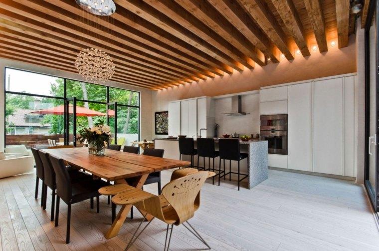 travi a vista-open-space-legno-arredamento-design