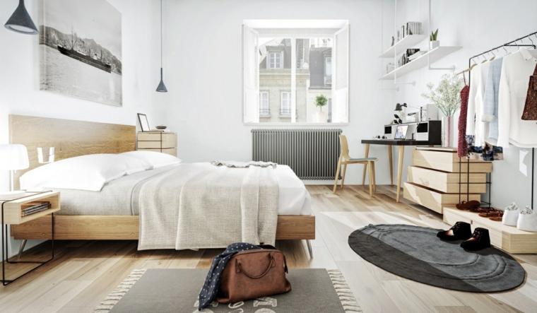 Camera da letto con armadio a vista, letto e mobile con cassetti in legno