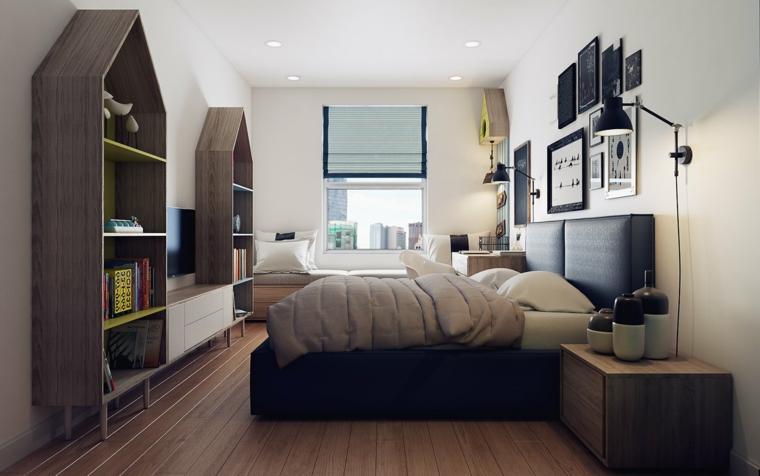 Idee arredamento camera da letto, letto con testata morbida, mensole in armadi senza porte