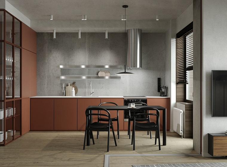 appartamento open space cucina sala da pranzo tavolo lampade soggiorno tv
