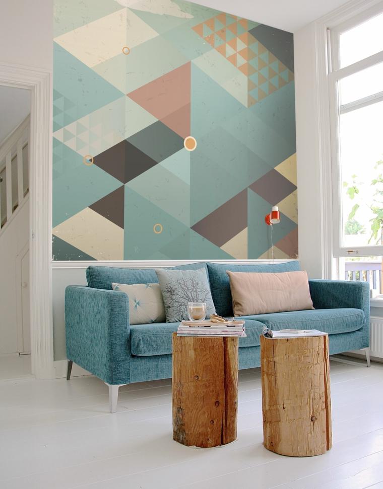 arredare cucina soggiorno 40 mq tavolino legno divano blu carta da parati motivi geometrici