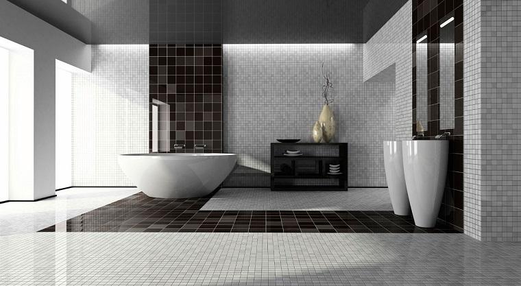 bagno bianco nero-parete-mosaico