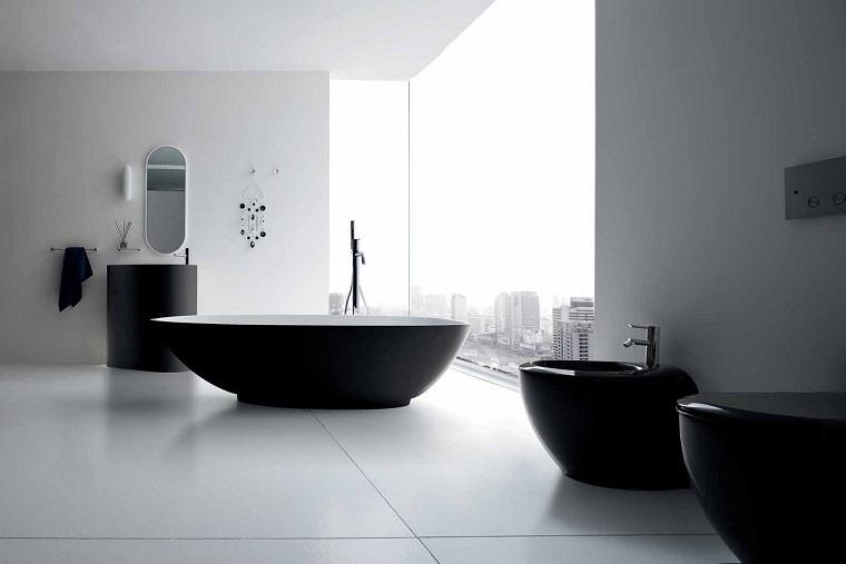 bagno bianco nero-sanitari-neri