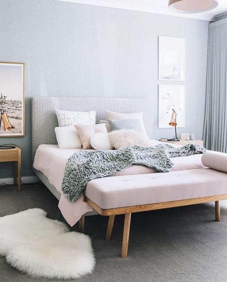camera da letto appartamento piccolo panchin parete colore grigio comodino tende tappeto
