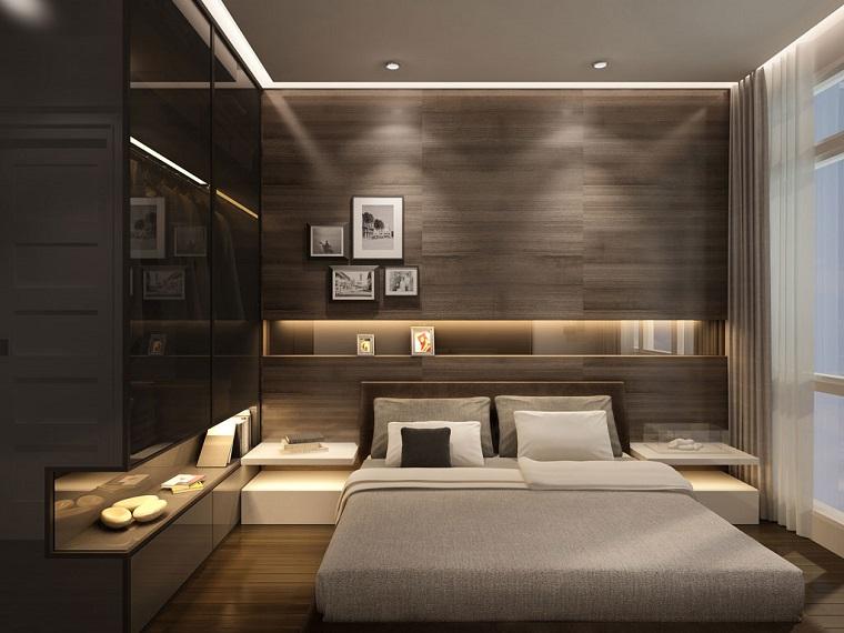 camera-da-letto-moderna-parete-legno