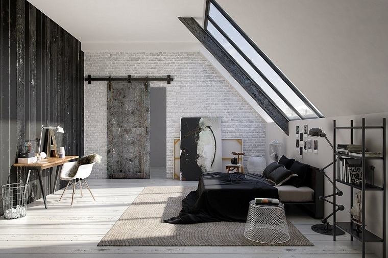 camera letto moderna-parete-mattoni-vista