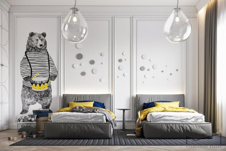 cameretta bimbi due letti arredare mini appartamento lampade palloncini