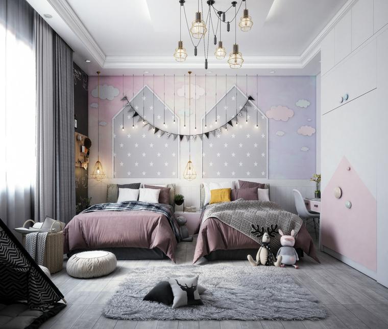 cameretta ragazze due letti arredare bilocale tappeto pareti carta da parati ghirlanda lampadine